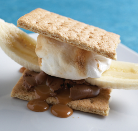 """Banana caramel s'mores.  Just try to eat only one. Credit:  Photograph by Joyce Oudkerk Pool from """"S'mores"""" by Lisa Adams; reprinted with permission of Gibbs Smith. gibbs-smith.com"""
