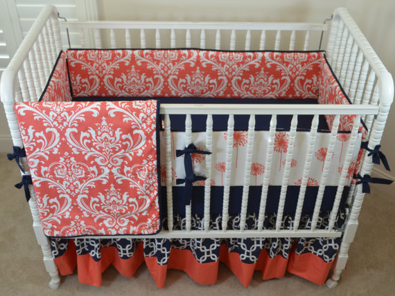 """Blending today's """"it"""" color--coral--with a classic like navy is a stroke of genius. Photo Credit: Lavender Linens of Nazareth, Pa. via Etsy."""