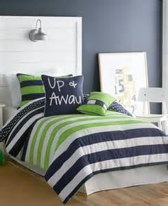 lime, navy comforter