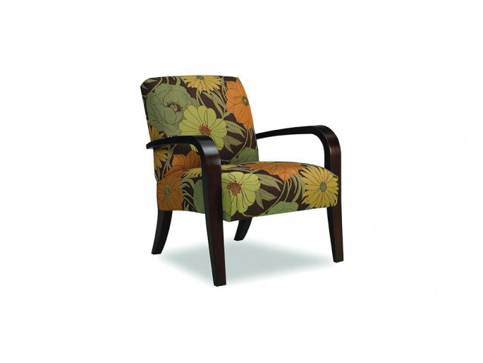 sam moore metro exposed wood chair brown yellow orange floral